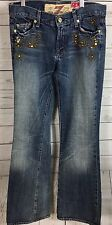 7 For All Mankind The Great China Wall Embellished Distressed Flare Jeans Sz 29