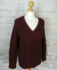 "Vintage chunky hand cable aran knit rustic brown jumper 10 S bust 38"" pure wool"