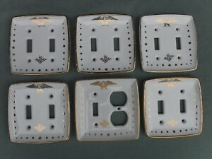 6pc Porcelain Power Double Switch Covers Eagle Stars Federal Colonial Patriotic