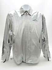 POWER TRIP MOTORCYCLE JACKET W/LINER - IN SILVER, MENS SIZE MED - EUC