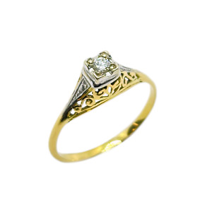 50% OFF SALE Solitaire Filligree 18ct Gold Ring