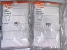 2 packs Wonder Nation Unisex 6-Pack White Short Sleeve Bodysuit Size 6-9 months