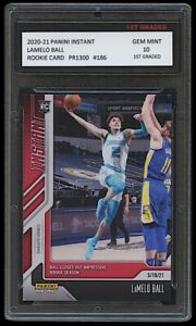 LAMELO BALL 2020-21 PANINI INSTANT #186 NBA 1ST GRADED 10 ROOKIE CARD RC HORNETS