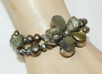 "Raw Hematite Druzy Sterling Silver Flower Black Pearl 7/8"" Bracelet 2e 107"