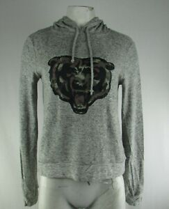 Chicago Bears NFL Women's Plush Cozy Gray Camouflage Logo Pullover Sweater