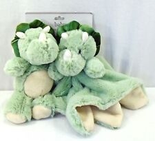 2 Pack Kelly Baby Mint Green Soft Dino Plush Toy + Blanket Lovey Blankie Soother