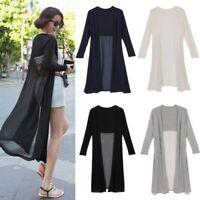 Women's Long Sleeve Chiffon Open Cardigan Maxi Kimono Casual Jacket Coat Outwear