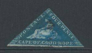 CAPE OF GOOD HOPE 1855 SG6 4d deep blue - wmk up - close cut good used. Cat £95