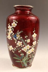 Antique Japanese fine red cloisonne vase, floral and bird decoration.