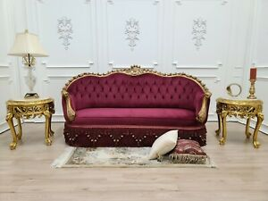 French Sofa Art Deco / Aged Gold Leaf/Hand Carved Wooden Frame/  Maroon Velvet