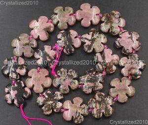 "Natural Gemstone Flower Shape Spacer Loose Beads Fluorite Quartz 14mm 20mm 16"""