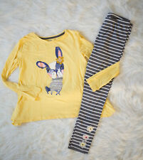 Gymboree Girls Size 14 Yellow Dog Shirt and Striped Leggings Spring Clothing