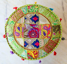 """Round Ottoman Pouf Cover 22"""" Inch Embroidered Patchwork Indian Home Decor Throw"""