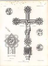 CROCE GOTICA OSNABRUCK processionale di simboli dorato evangelica