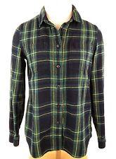 Madewell Women's Shirt Size XS Classic Plaid Flannel Greens Black & Yellow
