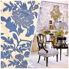 Designer Burnout Floral Velvet Upholstery Fabric -Lavender-Blue Bty