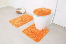 Hotel Collection 3 Piece Premium Prestige Bath rug set 100% Polyester (Orange)