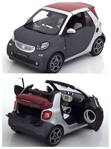 1/18 NOREV Smart Fortwo Cabriolet 2016 Matt Titania Grey New Free Shipping Home