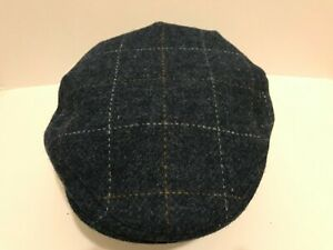 SCOTTISH HARRIS TWEED BLUE FLECKS COUNTY FARMER STYLE FLAT CAP M L XL