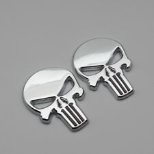 2x Car Body Chrome The Punisher Logo Badge 3D Metal Fender Trunk Emblem Sticker