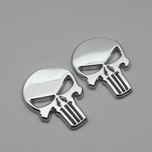 2x Car Body Chrome The Punisher Logo Badge 3D Metal Fender Trunk Emblem Sticker