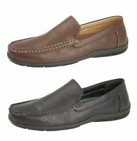 Mens Comfortable Leather Look Slip On Loafers Casual Shoes Black Brown Size 6-12
