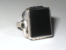 Antique Art Deco Vintage 14K White Gold Onyx  Ring 5.8G Size 2.75 FREE SIZING!