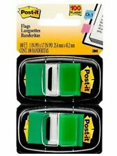 Post-it Standard Page Flags in Dispenser, Green 6-Pack 600 flags