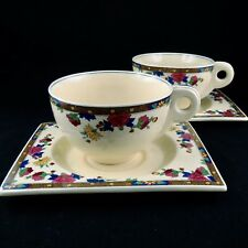 "Tasse à thé(x2) Royal STAFFORDSHIRE Clarice Cliff ""THE BIARRITZ"" England/tea cup"
