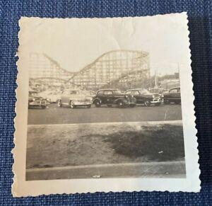Coney Island New York Cyclone Classic Cars 1940s B&W Vintage Photo