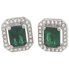 Earrings - Green - Silver Tone Carolee New - Crystal Square Stud