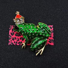 Betsey Johnson Hot Green Cute Rhinestone Crown Frog Animal Charm Brooch Pin Gift