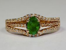 14k Rose Gold Oval Green Emerald And White Round Diamond Ring .51ct Size 5