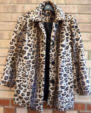 MISS SELFRIDGE ANIMAL PRINT BEIGE BROWN BLACK FAUX ANIMAL FUR COAT JACKET 8 S