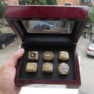 6PCS Pittsburgh Steelers Super Football Team Ring Souvenirs With Wooden Box Gift