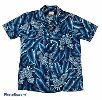 Ui-Maikai Blue Pineapple Hawaiian Button Up Shirt Mens Size Small