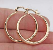 18K Gold Filled Earrings Big Round Carving Stripe Classic Ear Stud Hoops Lady BR