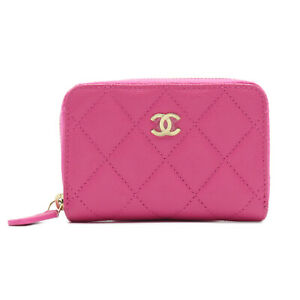 CHANEL Matelasse zipped coin purse wallet Caviar skin Pink Used Women leather CC