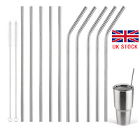 UK 8PCS Reusable Metal Drinking Straws Drink Straw Cleaner Kitchen Party Supply