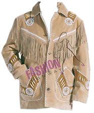 Fashion Runway Men Suede Leather Western Jacket-Coat with Fringes Sizes: XS - 6X