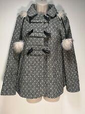 Atmosphere Black and Cream Detachable Hood Coat - Size 8 (439g)