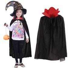 Cape Kids Cloak Medieval Halloween Costume Party Childrens Fancy Dress Black Red