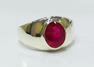 Natural Ruby Gemstone with 925 Sterling Silver Ring for Men's #1527