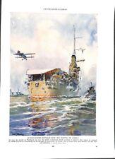 Porte-avions cuirassé Béarn de la Marine Nationale aquarelle Albert Sebille 1959