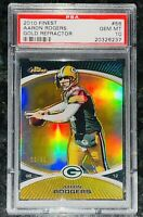 Pop 1💎Aaron Rodgers 2010 Topps Finest GOLD CHROME REFRACTOR /50 #56 PSA 10 BGS