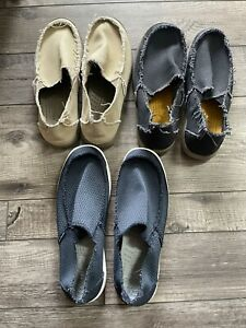 2 Pairs Crocs Kaleb Moccasin Canvas Loafers Slip On Men's -Tan And Navy
