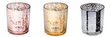 Medium Mercury Glass Gold, Tea Light Candle Votive Holders Wedding, Christmas