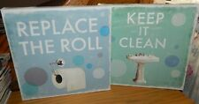 DRAKO FONTAINE lot of 2 CANVAS WALL PRINTS* Keep It Clean REPLACE THE ROLL* NEW