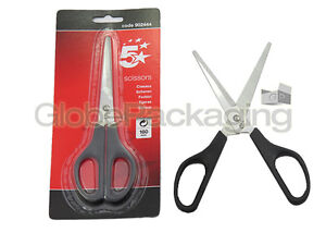 160mm BLACK SCISSORS - TOP QUALITY - FOR HOME KITCHEN OFFICE ETC