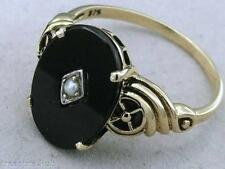 C1090- Genuine 9ct Solid Gold Natural ONYX & Pearl Vintage insp Ring in yr size